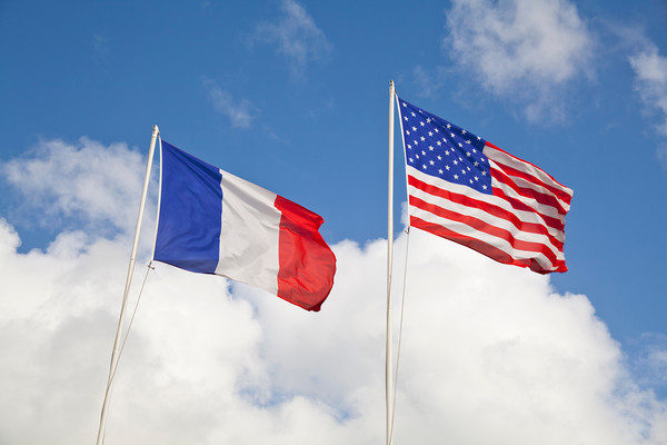 french american flags